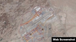 A portion of the Strava Labs heat map from Kandahar Airfield in Afghanistan, made by tracking activities. (Screen shot)