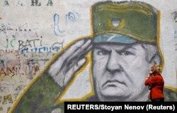 Mural Ratka Mladića u Beogradu, Srbija.