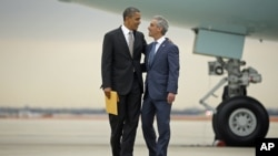 芝加哥市长到机场迎接奥巴马