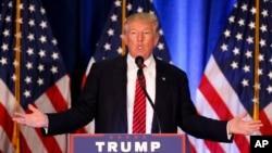 Calon presiden AS dari Partai Republik Donald Trump berbicara dalam kampanye di Youngstown, Ohio (15/8). (AP/Gerald Herbert)
