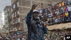 L'opposant Raila Odinga lors de sa campagne pour la présidentielle à Nairobi, Kenya, 3 août 2017.