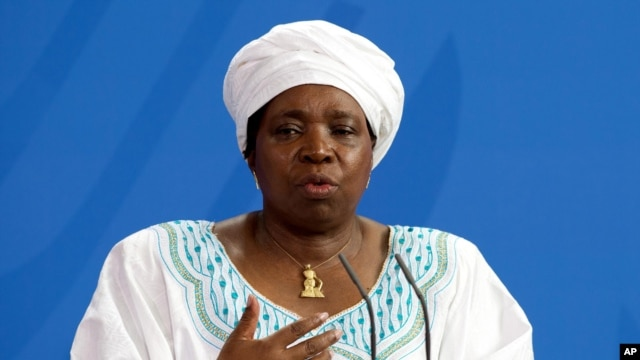 FILE - Nkosazana Dlamini-Zuma, chairwoman of the African Union Commission