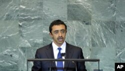Sheikh Abdullah Bin Zayed al-Nahyan, Minister for Foreign Affairs of the UAE, addresses the general debate of the 66th session of the General Assembly, at UN headquarters in New York, Sept. 26, 2011.