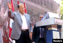 FILE - Lebanese Christian leader and founder of the Free Patriotic Movement (FPM) Michel Aoun