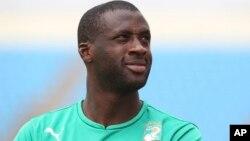 Le joueur ivoirien Yaya Touré lors d'un entrainement à Malabo, en Guinée Equatoriale, le 19 janvier 2015.