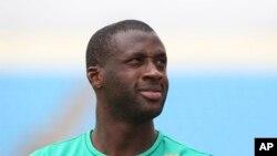 Yaya Touré, joueur ivoirien, lors d'un entrainement avant le match contre la Guinée au stade de Malabu à Malabo, 19 janvier 2015.