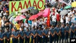 برگزاری مراسم روز جهانی کارگر در فیلیپین در محاصره پلیس