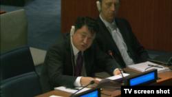 북한 대표부 김인룡 차석대사가 결의 L26호의 문구 삭제를 요청하고 있다.