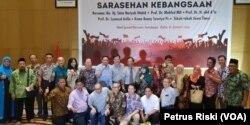 Peserta Sarasehan Kebangsaan di Surabaya, Rabu, 16 Januari 2019, menyikapi potensi perpecahan akibat perbedaan pilihan politik (Foto: VOA/Petrus Riski)