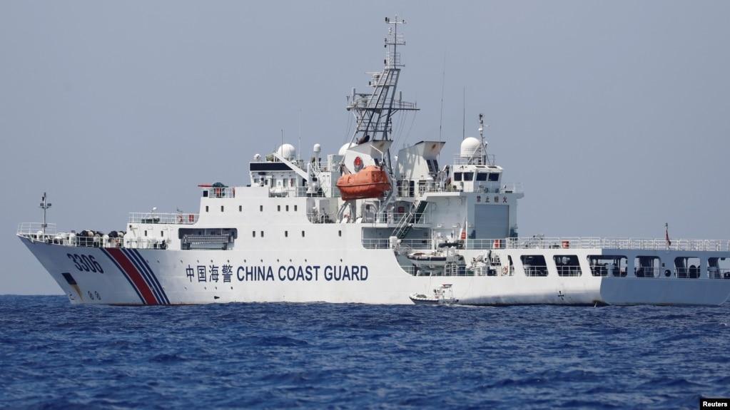A China Coast Guard vessel patrols at the disputed Scarborough Shoal April 6, 2017.