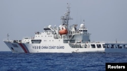 A China Coast Guard vessel patrols at the disputed Scarborough Shoal April 6, 2017.