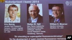 Hình ảnh 3 khoa học gia đoạt giải Nobel Hóa học 2014. Từ trái: Eric Betzig, Stefan Hell và William Moerner.