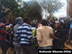 Supporters of arrested Pastor Evan Mawarire.