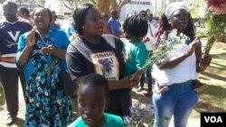 Sheffra Dzamara, the wife of abducted protest leader Itai Dzamara, seen today at Africa Unity Square.