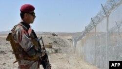 مرزبان پاکستانی در حال پاسبانی در کنار کتارۀ مرزی