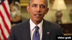 美国总统奥巴马发表每周例行广播讲话