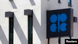 FILE - The Organization of the Petroleum Exporting Countries (OPEC) logo is pictured at its headquarters in Vienna.