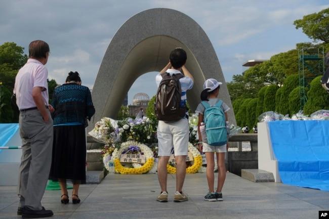 日本广岛遭到原子弹袭击72周年前夕,广岛的和平公园(2017年8月5日)
