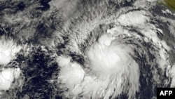 This image obtained from the NOAA-NASA shows Tropical Storm Andres, May 28, 2015.