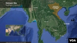 Map of Vietnam in 1968 shows the region under control by the Communist North.(VOA/Mark Sandeen)