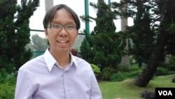 譚凱邦表示,很多港人不希望台灣被赤化。 (美國之音 湯惠芸拍攝)