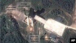 Gambar satelit fasilitas Korea Utara yang diyakini analis merupakan tempat pengujian roket. (Foto: Dok)