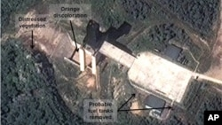 A satellite image shows a North Korean facility where analysts believe rocket engines for the country's missile program are tested (DigitalGlobe photo).