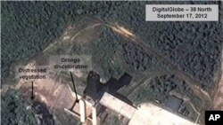 A satellite image shows a North Korean facility where analysts believe rocket engines for the country's missile program are tested (file photo).