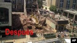 Así quedó el edificio después del derrumbe que causó la muerte de seis personas y 13 heridos.