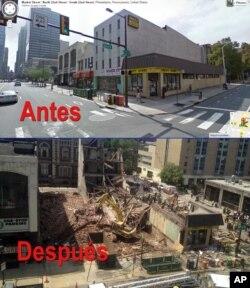 Comparación entre fotografías antes y después de los edificios derrumbados en Filadelfia sobre las calles 22 y Market, en el centro de Filadelfia. La foto superior es de Google Maps y la de abajo, tomada este miércoles, de la agencia AP.