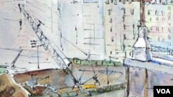 Akvarel Aggie Kenny: radnici na Nultoj točki