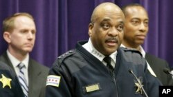 FILE - Chicago Police Department Superintendent Eddie Johnson speaks during a news conference.