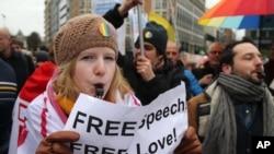 1月27日同性恋活动人士在布鲁塞尔举行抗议集会