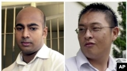FILE - This combination of two file photos shows Australian drug traffickers Myuran Sukumaran (l), and Andrew Chan during their trial in Bali, Indonesia.