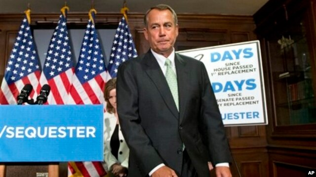 House Speaker John Boehner, R-Ohio, wraps up a news conference on Capitol Hill in Washington, Feb. 26, 2013.
