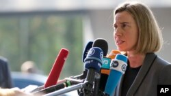 FILE - European Union High Representative Federica Mogherini in Luxembourg, April 3, 2017.