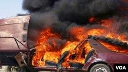 Avtomobil yanıb