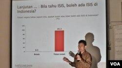Direktur Utama SMRC, Djayadi Hanan saat menyampaikan hasil survei soal pandangan masyarakat terhadap ISIS di kantornya, Jumat, 22 Januari 2016 (VOA/Fathiyah).