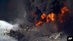 La plate-forme Deepwater Horizon en feu en avril 2010 (Archives)
