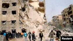 Uništena zgrada u Alepu