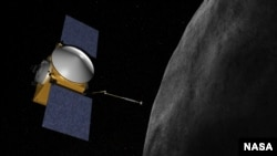 Artist concept of OSIRIS-REx. The OSIRIS-REx spacecraft is to launch in 2016, reach asteroid (101955) 1999 RQ36 in 2019, examine it up close during a 505-day rendezvous, then return at least 60 grams of it to Earth in 2023. (Credit: NASA/Goddard/University of Arizona)