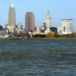 A view of Lake Erie with the Cleveland skyline in the background at Edgewater Beach in Cleveland
