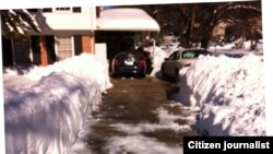 A driveway cleared of snow in Silver Spring, Maryland