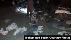 کراچی کی قائد آباد مارکیٹ میں بم دھماکے کے بعد کا منظر۔ 16 نومبر 2018