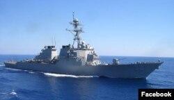 일본 요코스카 해군기지에 배치된 미 해군 이지스 구축함 배리호. (자료사진)
