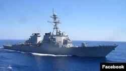 미 7함대 일본 요코스카 해군기지에 배치될 미 이지스 구축함 베리 호. 사진 출처 = 미 해군 7함대 공식 페이스북 페이지. (자료사진)