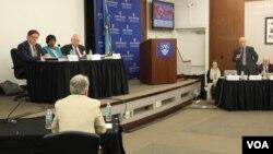 8일 미국 워싱턴의 존스홉킨스대학 국제관계대학원에서 북한 정치범수용소의 반인도적 범죄를 다룬 국제 모의재판이 열렸다.