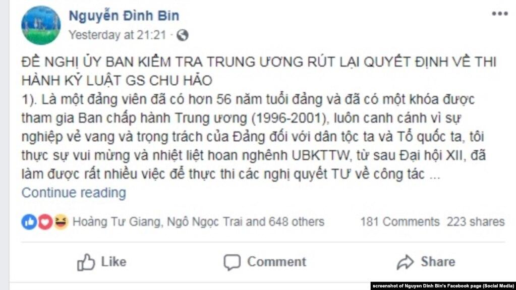 Cựu UV T/Ư đảng Nguyễn Đình Bin đăng bài trên Facebook đề nghị rút lại đề xuất kỷ luật giáo sư Chu Hảo