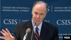 美國國家安全顧問多尼隆11月15號在CSIS發表演講(美國之音莉雅拍攝)