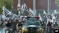 Jamat ud Dawa, formerly Lashkar-e Taiba parading in a Pakistani city (file photo)